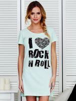 Sukienka miętowa bawełniana I LOVE ROCK N ROLL                                  zdj.                                  1