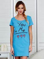 Sukienka niebieska bawełniana z miłosnym nadrukiem                                  zdj.                                  1