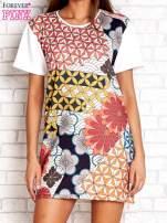 Sukienka w kwiatowe i geometryczne wzory