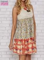 Sukienka w łączkę z dekoltem z koralików                                  zdj.                                  3