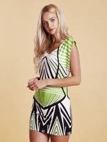 Sukienka z nadrukiem i wycięciem na plecach zielona                                  zdj.                                  3