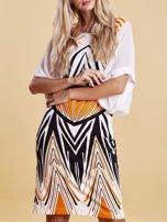 Sukienka z symetrycznym nadrukiem pomarańczowa                                  zdj.                                  5