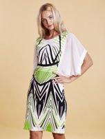 Sukienka z symetrycznym nadrukiem zielona                                  zdj.                                  3