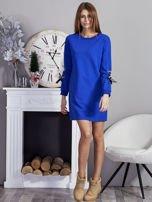 Sukienka z tasiemkami przy mankietach kobaltowa                                  zdj.                                  4