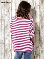 Sweter z dłuższym tyłem w biało-różowe paski Funk n Soul                                  zdj.                                  4
