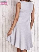 Szara asymetryczna sukienka z falbaną                                                                          zdj.                                                                         5