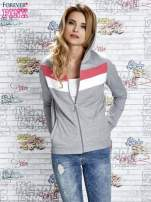 Szara bluza z kapturem z kolorowymi przeszyciami                                  zdj.                                  5