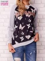 Szara bluza z napisem BEAUTIFUL PELITER i motywem motyli                                  zdj.                                  1