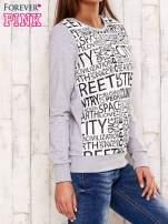 Szara bluza z tekstowym nadrukiem                                                                          zdj.                                                                         3