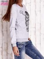 Szara bluza ze zwierzęcym nadrukiem                                  zdj.                                  4