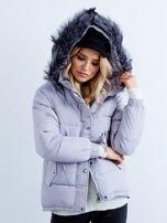 Szara kurtka zimowa pikowana                                  zdj.                                  4