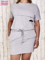 Szara sukienka dresowa wiązana w pasie PLUS SIZE                                  zdj.                                  1