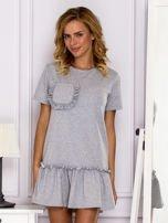Szara sukienka z falbaną                                  zdj.                                  1