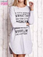 Szara sukienka z napisem NEW YORK CITY                                                                          zdj.                                                                         1