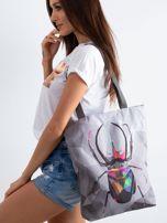 Szara torba materiałowa z kolorowym nadrukiem                                  zdj.                                  1
