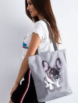 Szara torba materiałowa z psem                                  zdj.                                  1