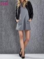 Szara trapezowa sukienka z kieszeniami                                  zdj.                                  2