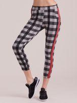 Szare spodnie w kratę z kolorowymi lampasami                                  zdj.                                  3