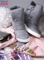 Szare zamszowe sneakersy bandage                                                                          zdj.                                                                         2