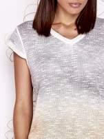 Szaro-beżowy t-shirt z efektem ombre                                  zdj.                                  5