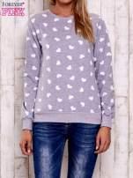 Szaro-biała bluza z nadrukiem serduszek                                  zdj.                                  1