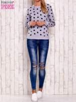Szaro-czarna bluza z nadrukiem serduszek
