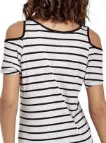 Szaro-czarna sukienka w paski cut out shoulder                                  zdj.                                  7