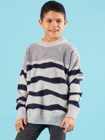 Szaro-granatowy sweter chłopięcy w paski                                  zdj.                                  1