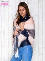 Szaro-różowy wełniany szalik w szeroką kratę                                  zdj.                                  3