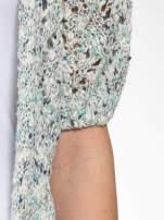 Szarozielony dziergany sweter typu kardigan z krótkim rękawem