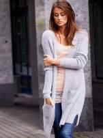Szary długi puszysty sweter