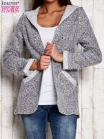 Szary otwarty sweter z kapturem                                  zdj.                                  1