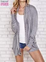 Szary sweter kardigan z ażurowym przodem                                                                          zdj.                                                                         1