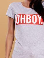 Szary t-shirt damski OH BOY                                  zdj.                                  5