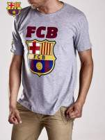 Szary t-shirt męski z motywem FC BARCELONA                                                                          zdj.                                                                         4