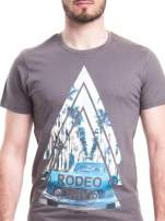 Szary t-shirt męski z nadrukiem RODEO DRIVE