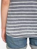 Szary t-shirt w paski z napisem FIRENZE TOSCANA