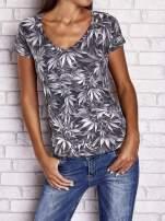 Szary t-shirt z motywem liści ganja weed                                  zdj.                                  1