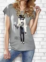 Szary t-shirt z nadrukiem Lady Gaga Funk n Soul                                  zdj.                                  5