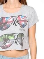 Szary t-shirt z nadrukiem awiatorów z motywem ENGLAND/ITALY                                  zdj.                                  6