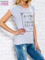 Szary t-shirt z napisem AVENUE THE CHAMPS ÉLYSÉE                                  zdj.                                  3