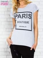 Szary t-shirt z napisem PARIS BOUTIQUE z dżetami                                  zdj.                                  1