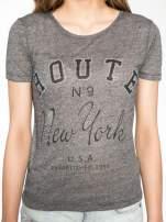 Szary t-shirt z napisem ROUTE NEW YORK                                                                          zdj.                                                                         7