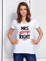 T-shirt biały dla par MRS. RIGHT                                  zdj.                                  1