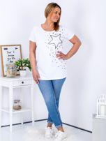 T-shirt biały z gwiazdą z perełek PLUS SIZE                                  zdj.                                  4