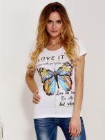T-shirt biały z motylem                                  zdj.                                  1