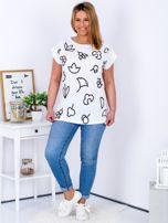 T-shirt biały z nadrukiem PLUS SIZE                                  zdj.                                  4
