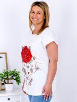 T-shirt biały z różą PLUS SIZE                                  zdj.                                  3
