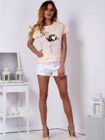 T-shirt brzoskwiniowy z cekinowym flamingiem                                  zdj.                                  4