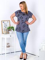 T-shirt ciemnoszary z nadrukiem PLUS SIZE                                  zdj.                                  4